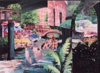 "River Walk, Acrylic Collage on Wrapped Canvas, 24""x30"",  $650"